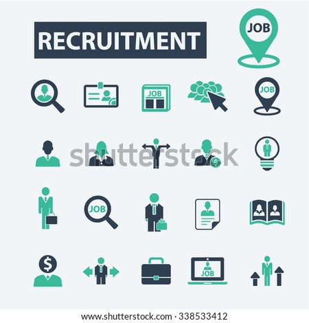 recruitment, hr, career, job  icons, signs vector concept set for infographics, mobile, website, application  - stock vector