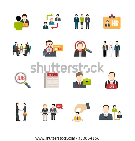 Recruitment icons set with people searching jobs isolated vector illustration - stock vector
