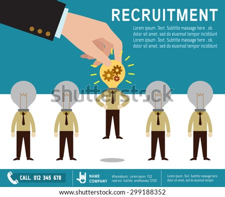 recruitment.  Picking the right candidate professional . Isolated on  background Flat design vector illustration concept. - stock vector
