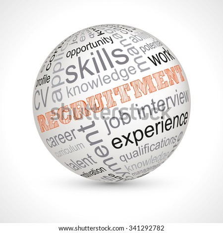 Recruitment theme sphere with keywords full vector