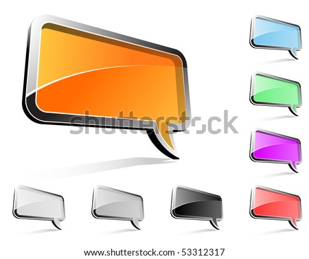 Rectangle balloon conversation - stock vector