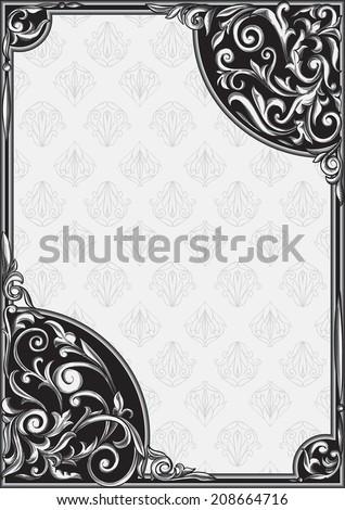 Rectangle frame & decorative corner - stock vector