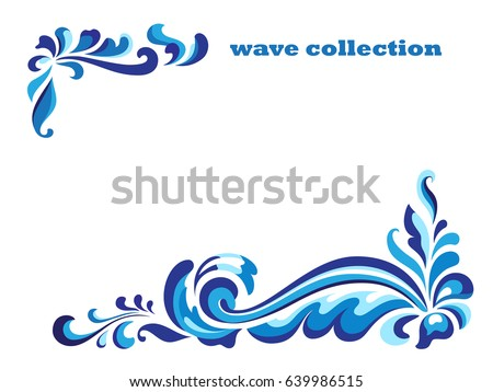 Rectangle frame corner swirl ornaments blue stock vector 639986515 rectangle frame with corner swirl ornaments blue wave pattern on white curly vector decoration stopboris Choice Image