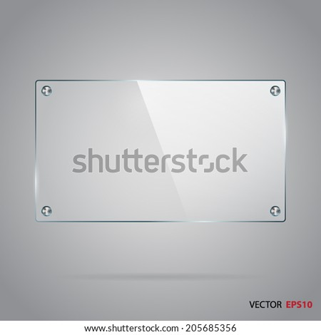 Rectangle glass panel with steel rivets. - stock vector