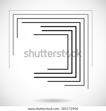 Rectangle Logo with lines.Square unusual icon Design .frame with Vector stripes . - stock vector