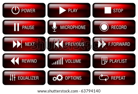 Rectangle media player buttons set with key-top marking. - stock vector