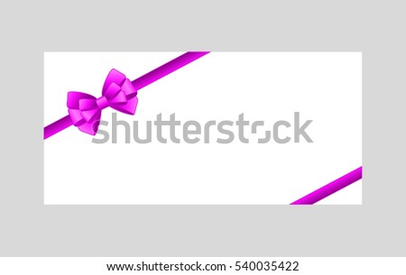 Rectangle paper card with purple ribbon and tied bow.