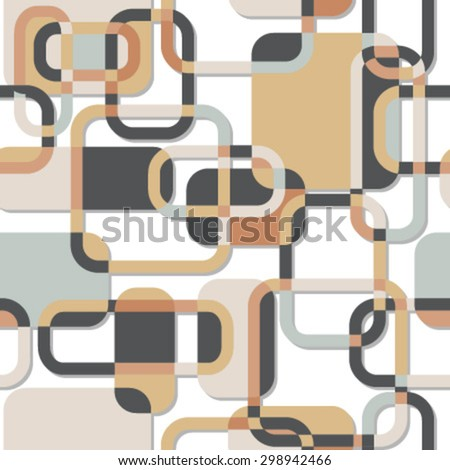 rectangles and lines seamless pattern gray blue orange - stock vector