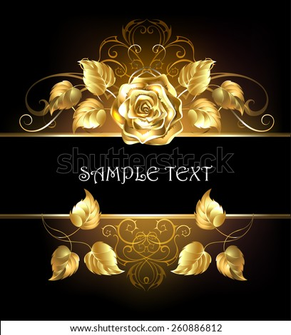 Rectangular banner with luxurious golden rose on black background. - stock vector