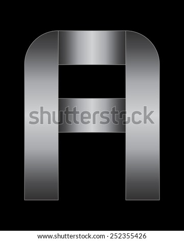 rectangular bent metal font - letter A