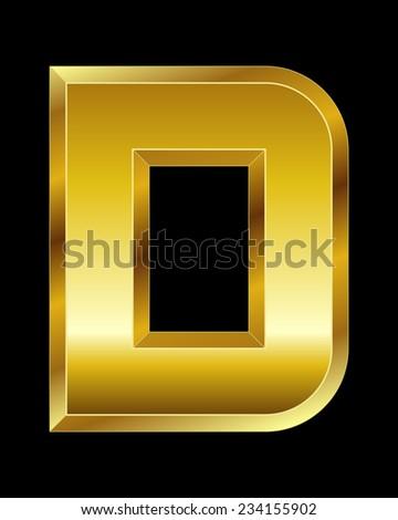 rectangular beveled golden font - letter D - stock vector