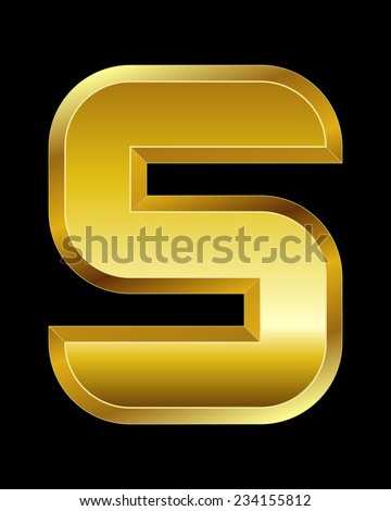 rectangular beveled golden font - letter S