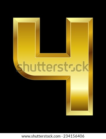 rectangular beveled golden font - number 4