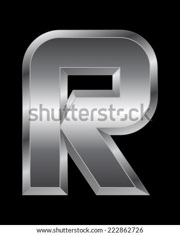 rectangular beveled metal font - letter R vector - stock vector