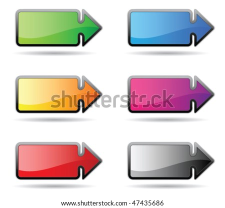 Rectangular button in the form of a pointer - stock vector