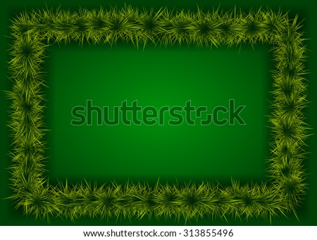 rectangular frame with spruce branches on a green background - stock vector