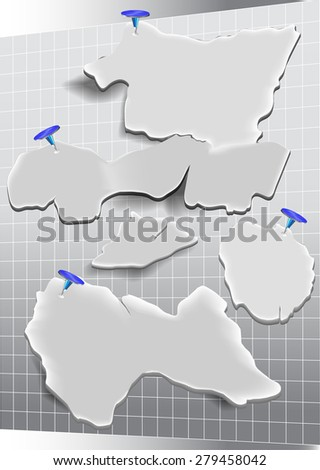 Rectangular grid with grunge torn paper notepads and drawing pins - stock vector