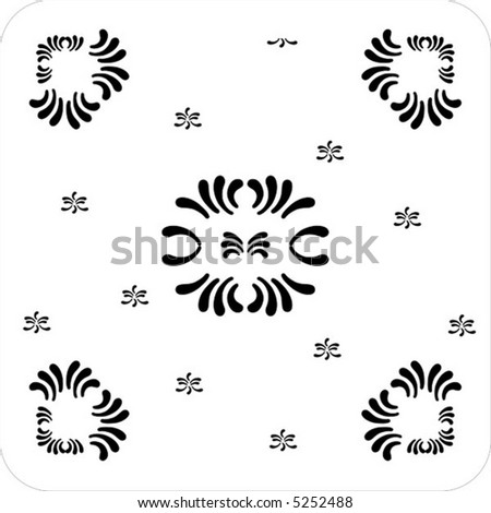 rectangular ornaments of petal flower black and white