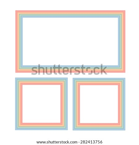 Rectangular photo frames on the wall. Vector illustration. - stock vector