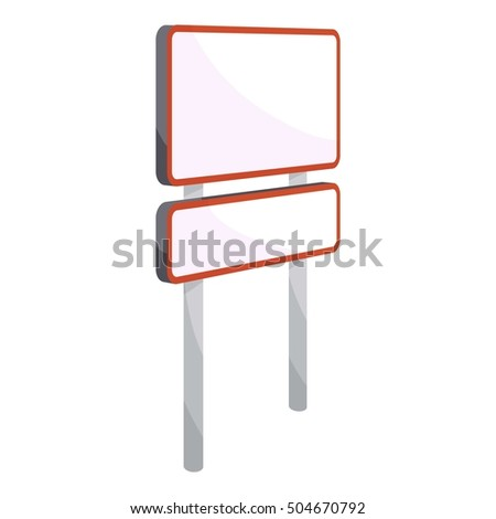 Rectangular road sign icon. Cartoon illustration of rectangular road sign vector icon for web
