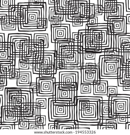 Rectangular seamless pattern in black and white is hand drawn ink illustration. Illustration is in eps8 vector mode, background on separate layer.