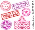 Rectangular, triangular and round coming soon rubber stamp vectors  - stock photo