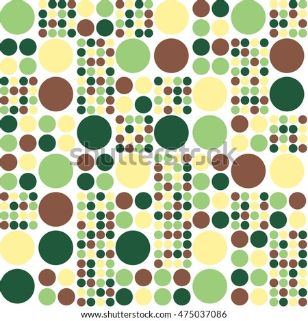 Recursive Dots. A seamless repeating pattern of dots of various sizes in green, brown and yellow against a white background.