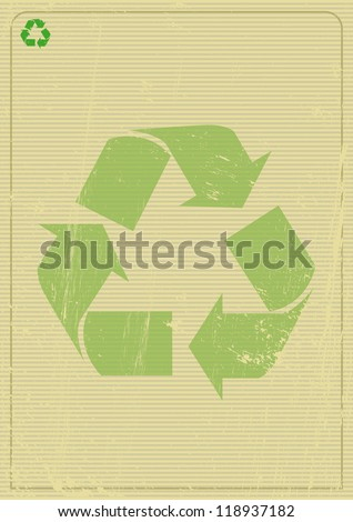 Recyclable background A recycling logo on a poster. - stock vector