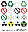 Recycle and danger symbols - stock photo