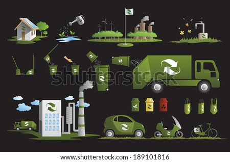 recycle and ecology icons collection - stock vector