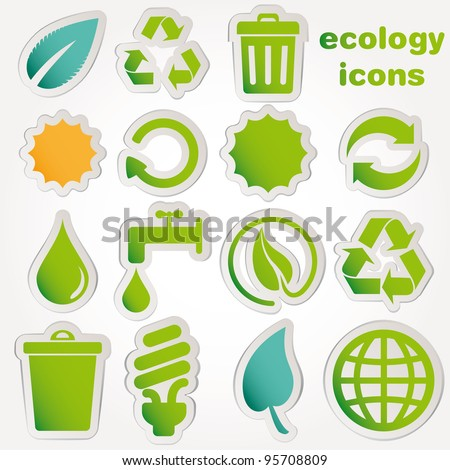 Recycle and ecology icons collection vector - stock vector