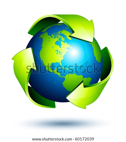 recycle arrows earth - stock vector