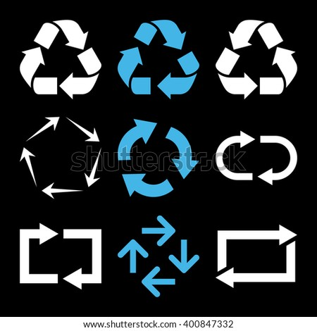 Recycle Arrows vector icon set. Collection style is bicolor blue and white flat symbols on a black background. Recycle Arrows icons. - stock vector