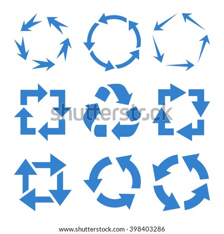 Recycle Arrows vector icon set. Collection style is cobalt flat symbols on a white background. - stock vector