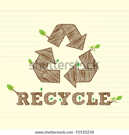 recycle bean with recycle symbol and word - stock vector