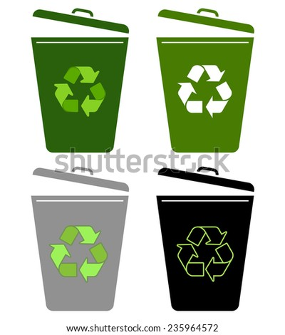 recycle bin, garbage can - vector illustration fully editable, you can change form and color - stock vector