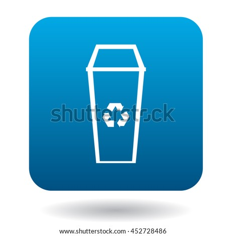 Recycle bin icon in simple style on a white background - stock vector