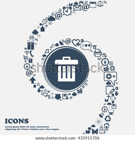 Recycle bin icon sign in the center. Around the many beautiful symbols twisted in a spiral. You can use each separately for your design. Vector illustration - stock vector