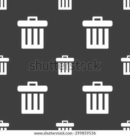 Recycle bin icon sign. Seamless pattern on a gray background. Vector illustration - stock vector