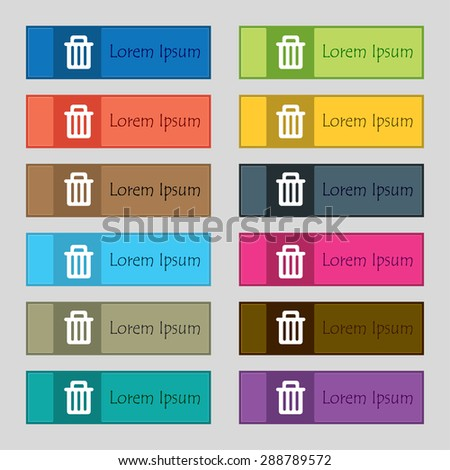 Recycle bin icon sign. Set of twelve rectangular, colorful, beautiful, high-quality buttons for the site. Vector illustration - stock vector