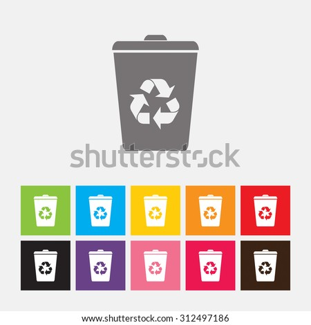 Recycle bin icon - Vector - stock vector