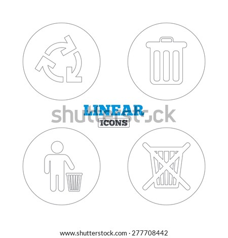 Recycle bin icons. Reuse or reduce symbols. Human throw in trash can. Recycling signs. Linear outline web icons. Vector - stock vector
