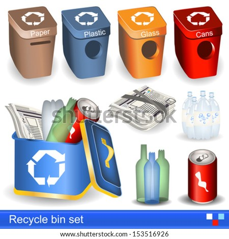 Recycle bin vector set - stock vector