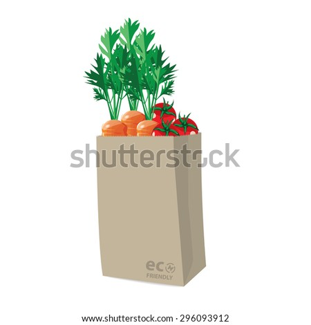 recycle brown bag is on white background with vegetable. - stock vector