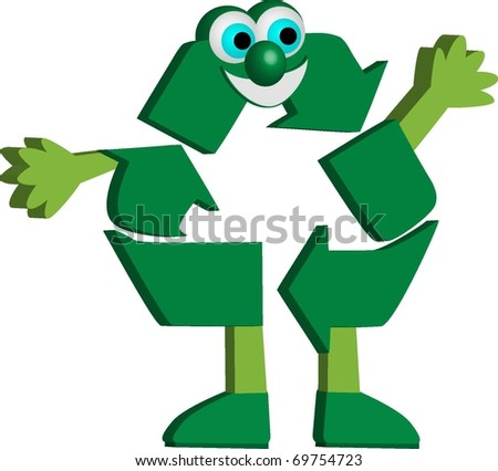 Recycle cartoon character - stock vector
