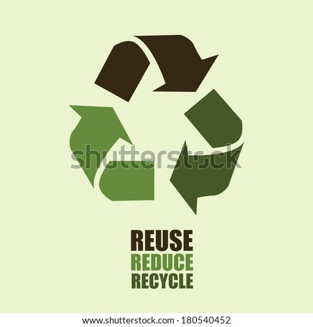 recycle design over brown background vector illustration  - stock vector