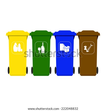Recycle dustbins - stock vector