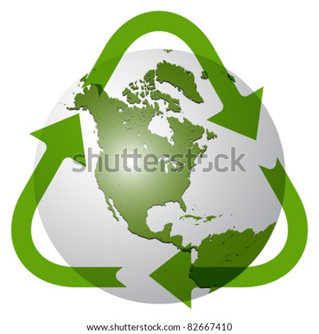 recycle earth globe against white background; abstract vector art illustration; image contains transparency - stock vector