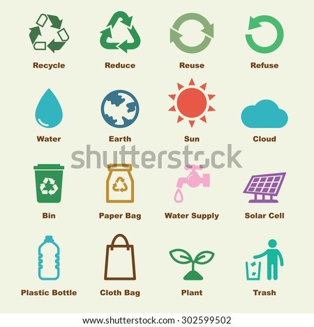 recycle elements, vector infographic icons - stock vector
