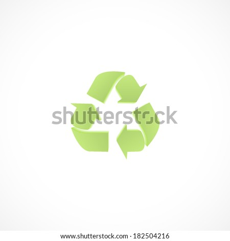 recycle, flat icon isolated on a white background - stock vector